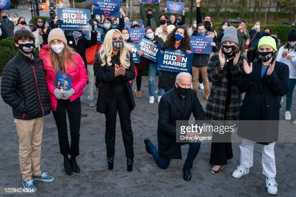 Democratic presidential nominee Joe Biden, his grandchildren and Lady Gaga pose for a photo with college students at Schenley Park on November 02,...