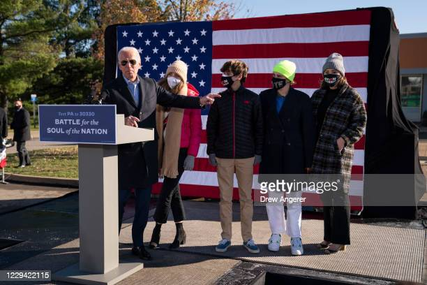 Democratic presidential nominee Joe Biden introduces his grandchildren at a campaign stop at Community College of Beaver County on November 02, 2020...