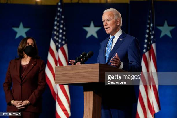 Democratic presidential nominee Joe Biden, joined by vice presidential nominee Sen. Kamala Harris , speaks one day after Americans voted in the...