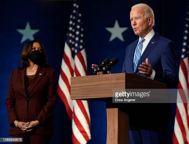 Democratic presidential nominee Joe Biden, joined by vice presidential nominee Kamala Harris , speaks one day after America voted in the presidential...