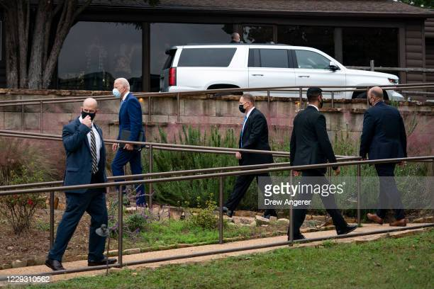 Democratic presidential nominee Joe Biden leaves a campaign event at the Mountain Top Inn and Resort on October 27 2020 in Warm Springs Georgia Biden...