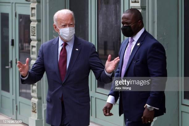Democratic presidential nominee Joe Biden leaves after speaking at a campaign event on September 27 2020 in Wilmington Delaware Biden spoke on...