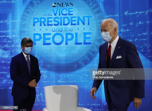 Democratic presidential nominee Joe Biden participates in a Town Hall format meeting with ABC News Chief Anchor George Stephanopoulos at the National...