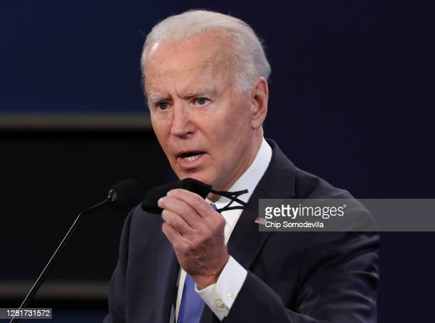 Democratic presidential nominee Joe Biden participates in the final presidential debate against U.S. President Donald Trump at Belmont University on...