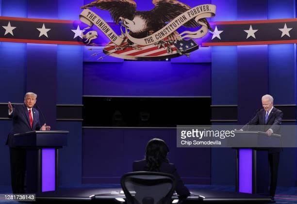 Democratic presidential nominee Joe Biden participates in the final presidential debate against U.S. President Donald Trump at Belmont University on...