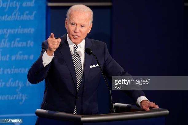 Democratic presidential nominee Joe Biden participates in the first presidential debate against U.S. President Donald Trump at the Health Education...