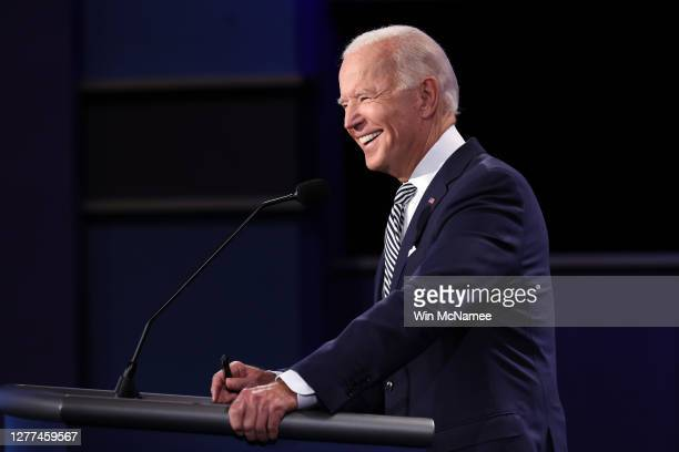 Democratic presidential nominee Joe Biden participates in the first presidential debate against U.S. President Donald Trump at the Health Education...