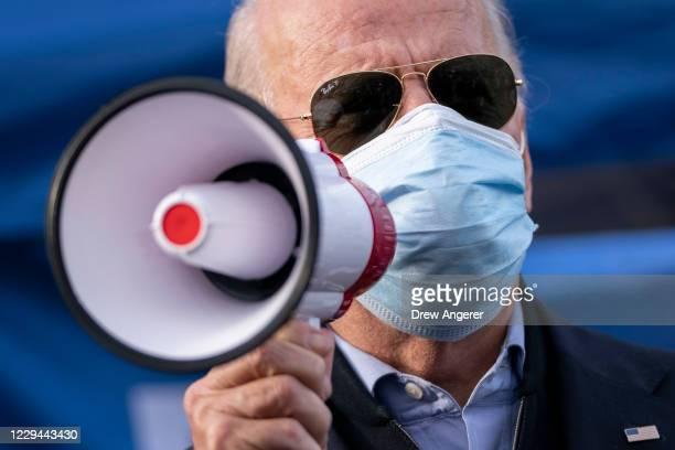 Democratic presidential nominee Joe Biden rallies supporters in the West Oak Lane neighborhood of Philadelphia on November 03, 2020 in Philadelphia,...