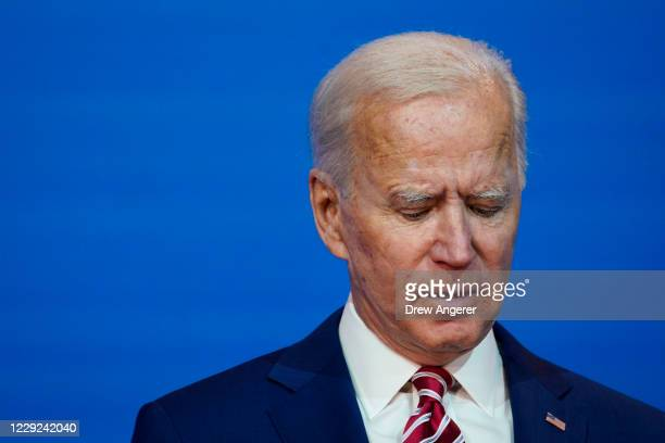 Democratic presidential nominee Joe Biden speaks about his plans for combatting the coronavirus pandemic at The Queen theater on October 23, 2020 in...