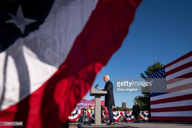 Democratic presidential nominee Joe Biden speaks at a campaign stop at Community College of Beaver County on November 02, 2020 in Monaca,...