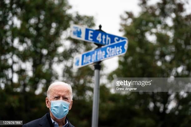 Democratic presidential nominee Joe Biden speaks at a voter mobilization center on October 26 2020 in Chester Pennsylvania In Pennsylvania Tuesday...