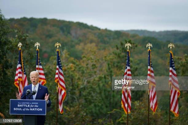 Democratic presidential nominee Joe Biden speaks during a campaign event at the Mountain Top Inn and Resort on October 27 2020 in Warm Springs...