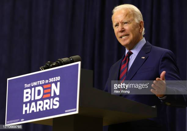 Democratic presidential nominee Joe Biden speaks during a campaign event September 4, 2020 in Wilmington, Delaware. Biden spoke on the economy that...