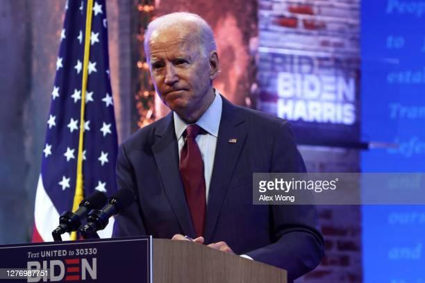 Democratic presidential nominee Joe Biden speaks during a campaign event on September 27 2020 in Wilmington Delaware Biden spoke on President Trump's...