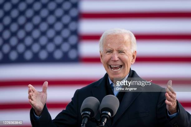 Democratic presidential nominee Joe Biden speaks during a drive-in campaign rally at the Iowa State Fairgrounds on October 30, 2020 in Des Moines,...