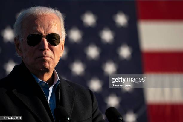 Democratic presidential nominee Joe Biden speaks during a drive-in campaign rally at the Minnesota State Fairgrounds on October 30, 2020 in St. Paul,...
