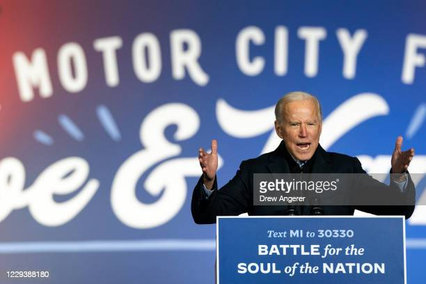 Democratic presidential nominee Joe Biden speaks during a drive-in campaign rally at Belle Isle on October 31, 2020 in Detroit, Michigan. Biden is...