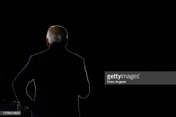 Democratic presidential nominee Joe Biden speaks during a drive-in campaign rally at Lexington Technology Park on November 02, 2020 in Pittsburgh,...