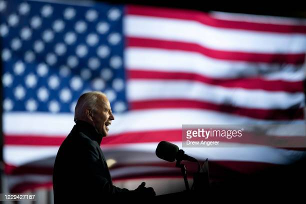 Democratic presidential nominee Joe Biden speaks during a drive-in campaign rally at Heinz Field on November 02, 2020 in Pittsburgh, Pennsylvania....