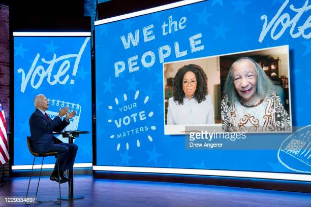Democratic presidential nominee Joe Biden speaks during a virtual town hall event with Oprah Winfrey at The Queen theater on October 28, 2020 in...