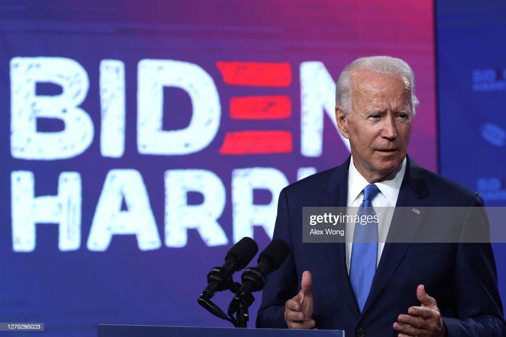 Democratic Presidential Candidate Joe Biden Speaks On 2020-21 School Year Amid Coronavirus Pandemic : News Photo