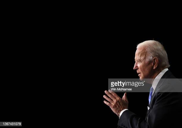 Democratic presidential nominee Joe Biden speaks on the fourth night of the Democratic National Convention from the Chase Center on August 20, 2020...