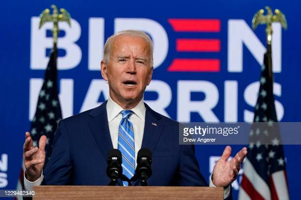 Democratic presidential nominee Joe Biden speaks one day after Americans voted in the presidential election, on November 04, 2020 in Wilmington,...
