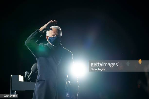 Democratic presidential nominee Joe Biden waves to the crowd after speaking at a drive-in campaign rally at Lexington Technology Park on November 02,...