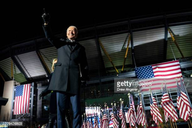 Democratic presidential nominee Joe Biden waves to the crowd after speaking at a drive-in campaign rally at Heinz Field on November 02, 2020 in...