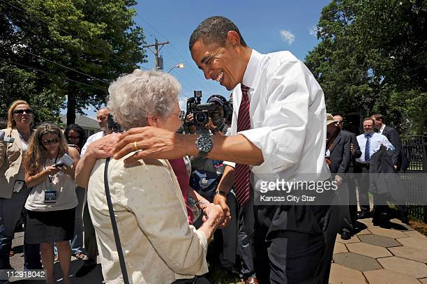 Democratic presidential nominee Sen Barack Obama greets two of his constituents from Illinois Rosemary Swise left and her daughter Sally Davidson who...