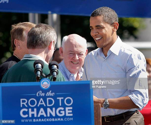 Democratic presidential nominee Sen Barack Obama meets Teamsters president James Hoffa and United Auto Workers president Ron Gettelfinger and AFLCIO...