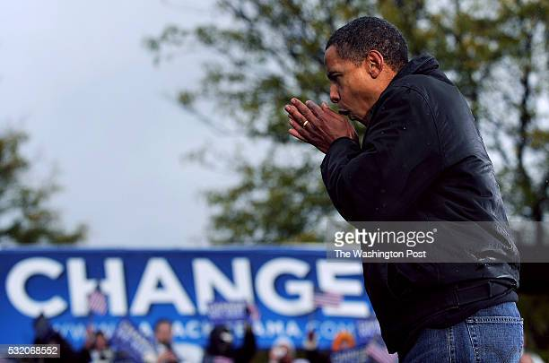 S democratic presidential nominee Sen Barack Obama speaks during a rally Widener University in Chester Pennsylvania on Tuesday October 28 2008...