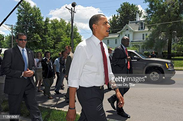 Democratic presidential nominee Sen Barack Obama walks to the Harry S Truman historic home for a private tour in downtown Independence Missouri on...