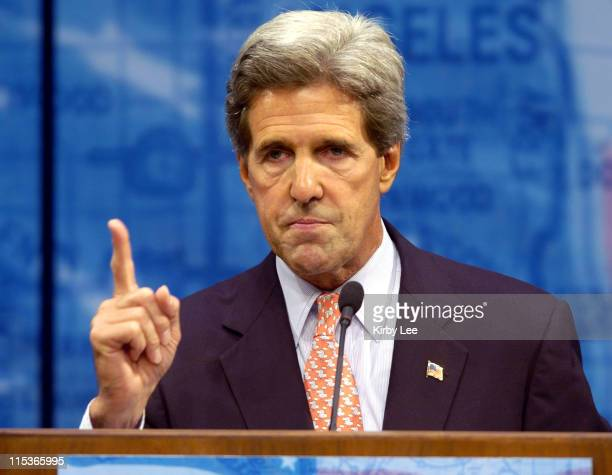Democratic Presidential nominee Sen John Kerry DMass speaks during a stop on his national Believe in America Tour at California State University...