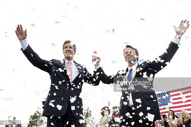 Democratic presidential nominee Senator John Kerry and his running mate Senator John Edwards appear at a campaign rally in Cleveland, Ohio.