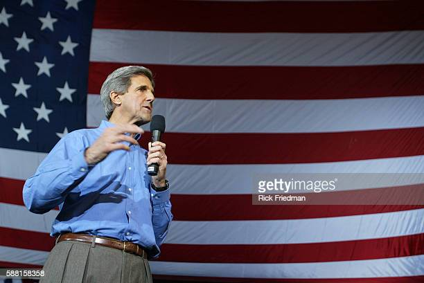 Democratic presidential nominee Senator John Kerry of Massachusetts addresses the crowd at a campaign rally at the University of New Hampshire The...