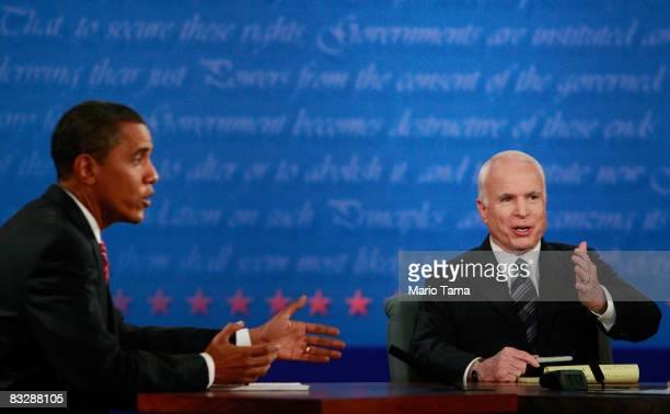 Democratic presidential nominee US Sen Barack Obama and Republican presidential nominee US Sen John McCain speak during the third presidential debate...