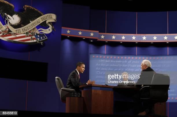 Democratic presidential nominee US Sen Barack Obama and Republican presidential nominee US Sen John McCain during the third presidential debate in...