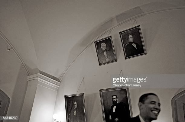 Democratic presidential nominee U.S. Sen. Barack Obama backstage with his family before speaking during a campaign rally at Ohio State House November...