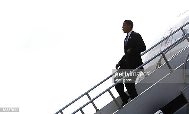 Democratic presidential nominee US Sen Barack Obama deplanes at LambertSt Louis International Airport October 18 2008 in St Louis Missouri Obama...
