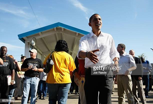 Democratic presidential nominee US Sen Barack Obama greets during shift change at the Toledo Machining Plant October 14 2008 in Perrysburg Ohio Obama...