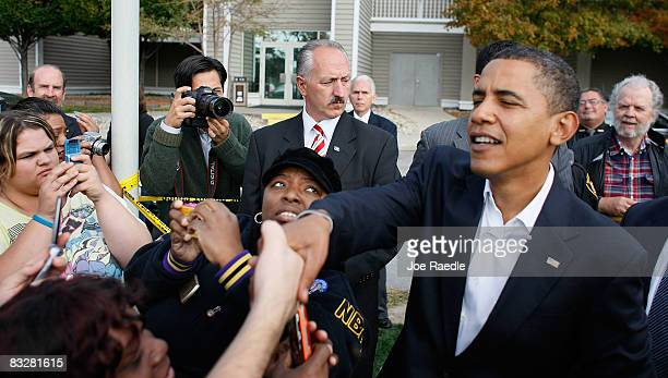 Democratic presidential nominee US Sen Barack Obama greets people outside Maumee Bay resort as he heads to New York for his debate against Sen John...