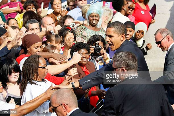 Democratic presidential nominee U.S. Sen. Barack Obama shakes hands with people during a campaign rally at Ohio State House November 2, 2008 in...