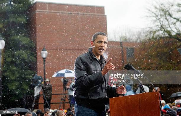 Democratic presidential nominee US Sen Barack Obama speaks during a campaign rally at Widener University Main Quad October 28 2008 in Chester...