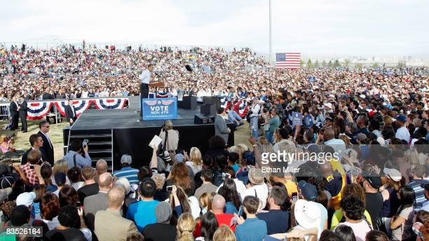 Democratic presidential nominee US Sen Barack Obama speaks during a campaign rally at Coronado High School November 1 2008 in Henderson Nevada Obama...