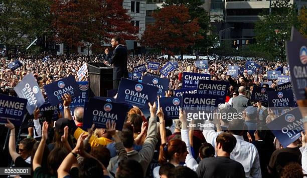Democratic presidential nominee U.S. Sen. Barack Obama speaks during a campaign rally at Ohio State House November 2, 2008 in Columbus, Ohio. Obama...