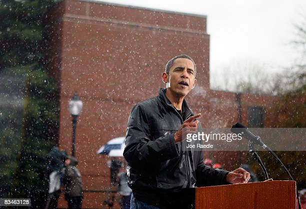 Democratic presidential nominee US Sen Barack Obama speaks in the rain during a campaign rally at Widener University Main Quad October 28 2008 in...