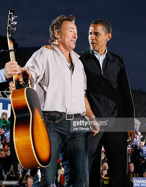 Democratic presidential nominee U.S. Sen. Barack Obama stands with singer Bruce Springsteen during a campaign rally at the Cleveland Mall November 2,...