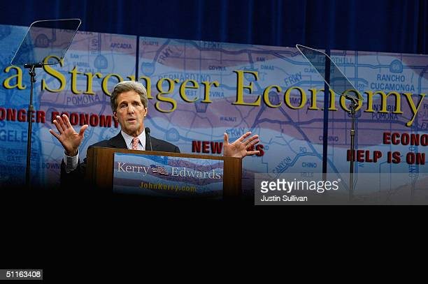 Democratic presidential nominee US Sen John Kerry speaks during a rally on the California State University Dominguez Hills August 12 2004 in Carson...