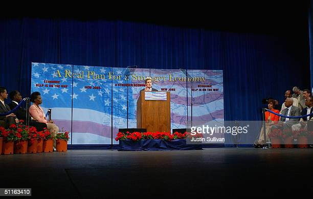 Democratic presidential nominee US Sen John Kerry speaks during a rally on the California State University Dominguez Hills campus August 12 2004 in...